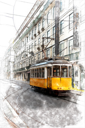 Sketch of Vintage yellow tramway in the streets of Lisbon 版權商用圖片