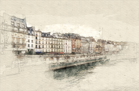 Illustration of Paris rive taken from the Seine Banque d'images