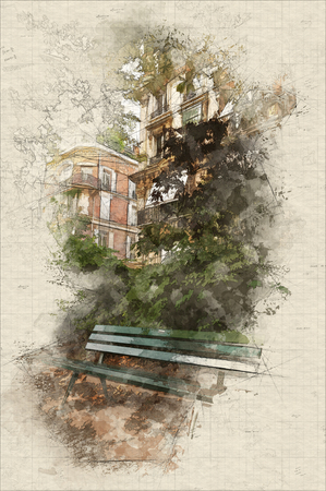 Illustration of Parisian park at the end of the summer with typical buildings at the background