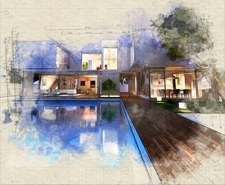 Illustration of a contemporary house with pool at dusk