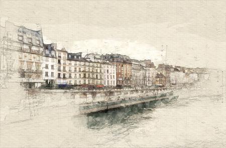 Illustration of Paris rive taken from the Seine