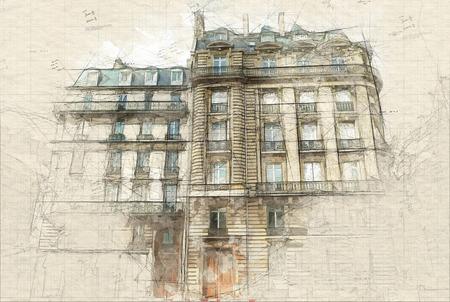 Illustration of Typical Parisian building fa�ades