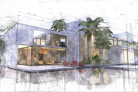 3D rendering of a modern luxurious villa with swimming  pool Stok Fotoğraf