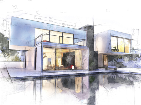 Sketch of a luxurious modern house surrounded by a pool Stok Fotoğraf