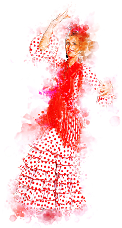 Illustration  of a Flamenco  dancer in  a typical gypsy costume from Seville Фото со стока