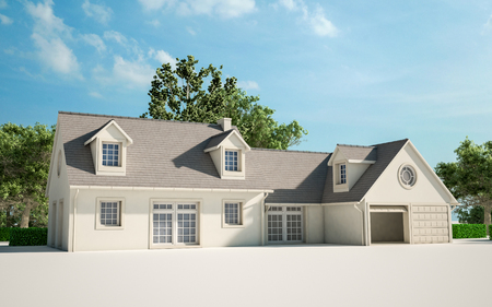 3D rendering of a house with garden undergoing  renovation