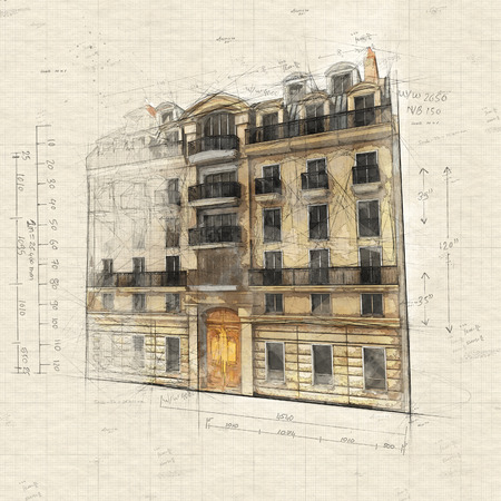 Illustration of  a typically Parisian building Reklamní fotografie