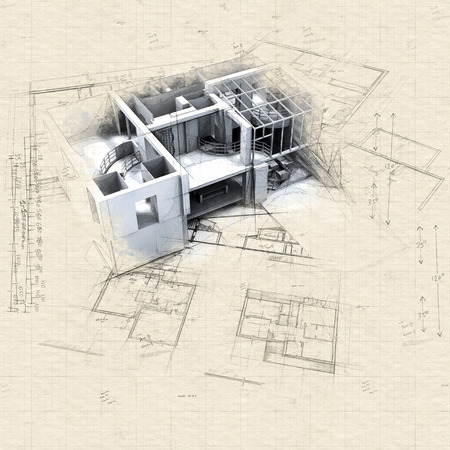 Illustraton of mock up with blueprints 免版税图像 - 111757072