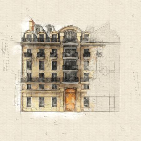 Original illustration of a typical parisian building