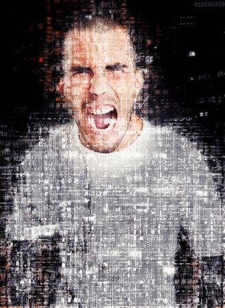 Shouting furious man on a digital environment Reklamní fotografie