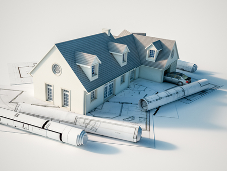 3D rendering of a house on top  of blueprints Archivio Fotografico
