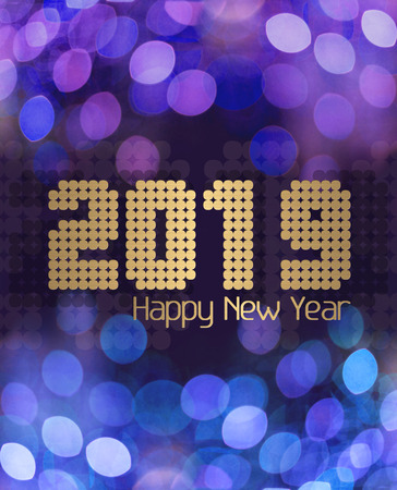 Happy New Year 2019 in a blue glittery background Stock Photo