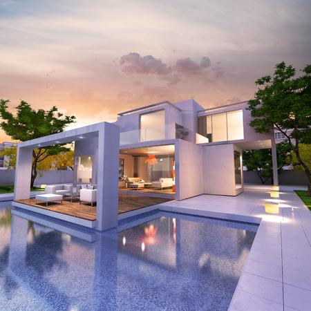 Rendu 3D d'une magnifique maison moderne avec piscine Banque d'images