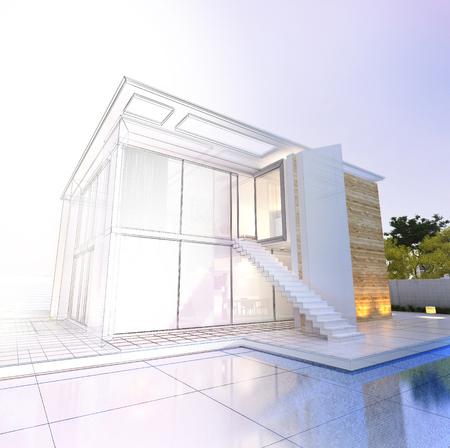 Rendering 3D di un'imponente casa moderna con piscina dalla fase del progetto al completamento Archivio Fotografico