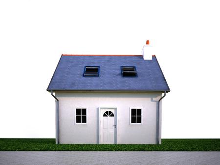 Rendering 3D di una casetta suburbana con giardino
