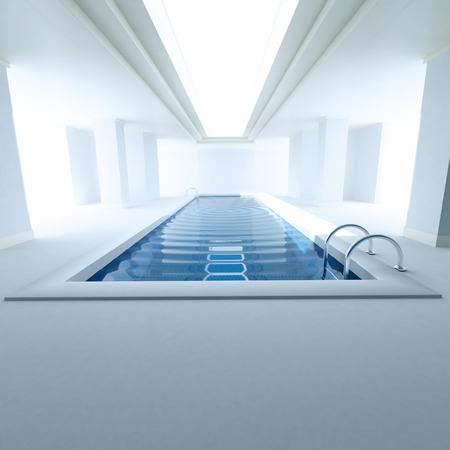 3D rendering of an interior private swimming pool Archivio Fotografico