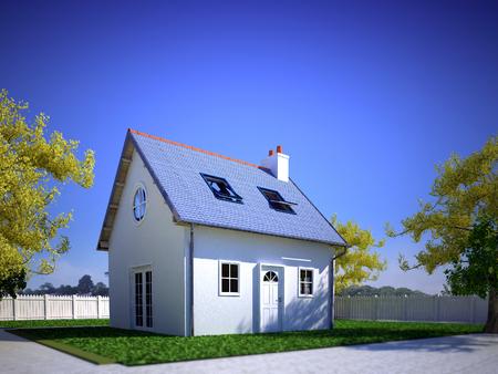 Representación 3D de una casita suburbana con jardín