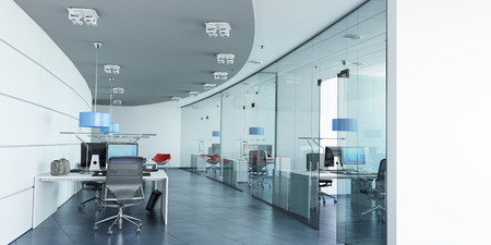 Very realistic 3D rendering of a modern corporate office in white, glass and blue