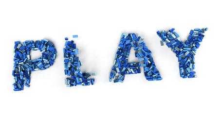 Representación 3D del juego de palabras formado por ladrillos de juguete azul