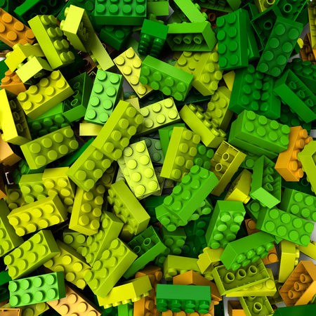 3D rendering of construction blocks in different shades of green, yellow and orange Banque d'images - 123097554