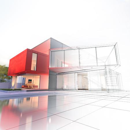 Indrukwekkend modern huis met zwembadarchitectuurproject