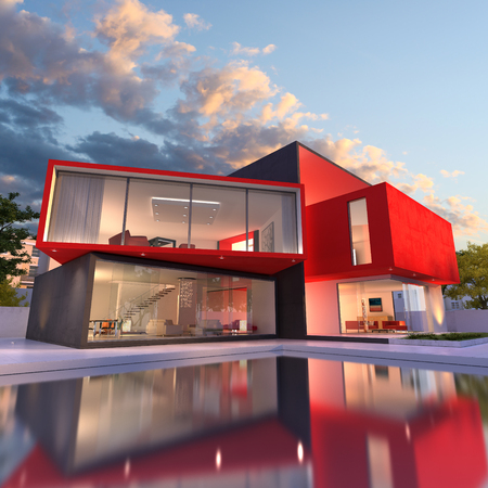 3D rendering of an upscale modern house in black and red