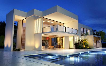 Representación 3D de una mansión moderna de lujo con piscina Foto de archivo