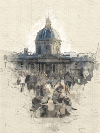 Sketch of the French Institute from the Pont des arts Banque d'images