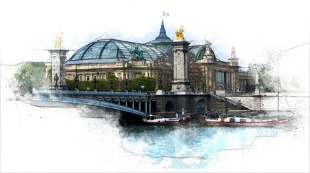Sketch of the Grand Palais from Alexander the third bridge 写真素材