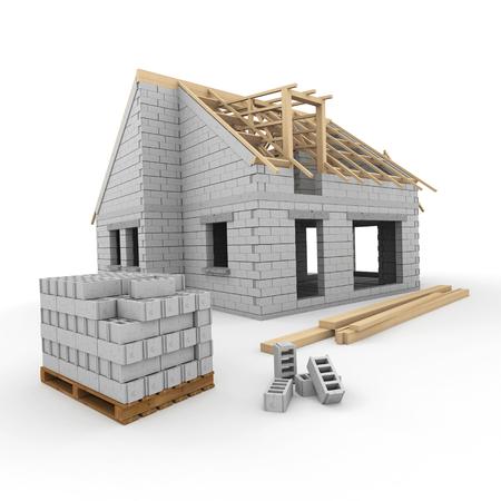 Een huis in aanbouw, met bouwblokken en balken