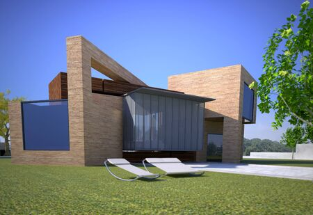 3D rendering of a wooden modern house 版權商用圖片