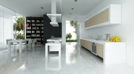 Modern interior 3D rendering showing dining room and kitchen