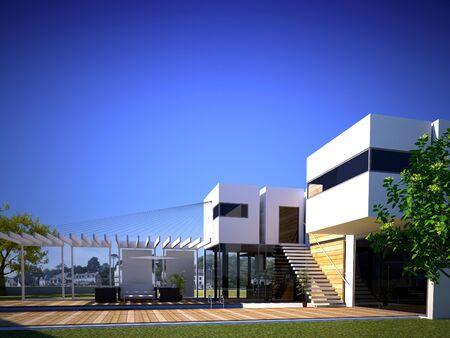 Representación 3D del exterior de un edificio moderno con piscina
