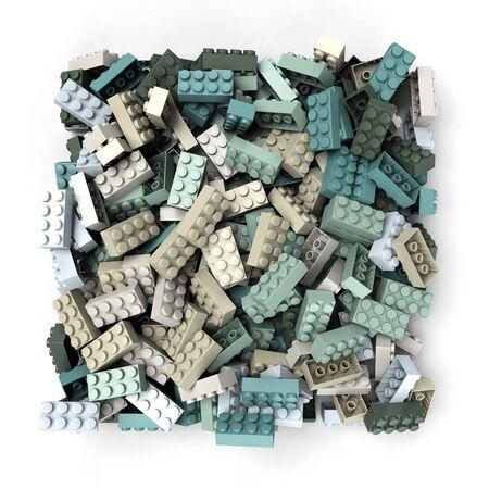3D rendering of construction blocks in pastel colors Stok Fotoğraf