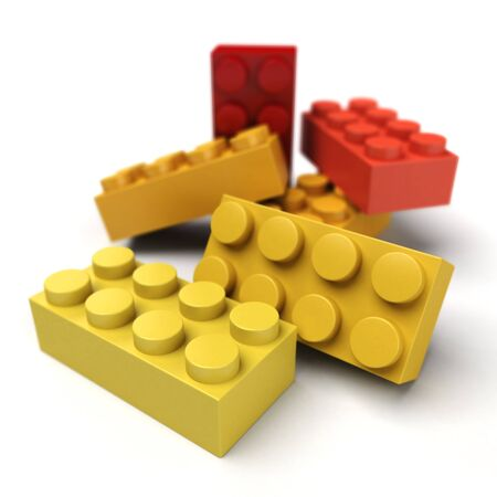 3D rendering of plastic construction blocks in red yellow and orange