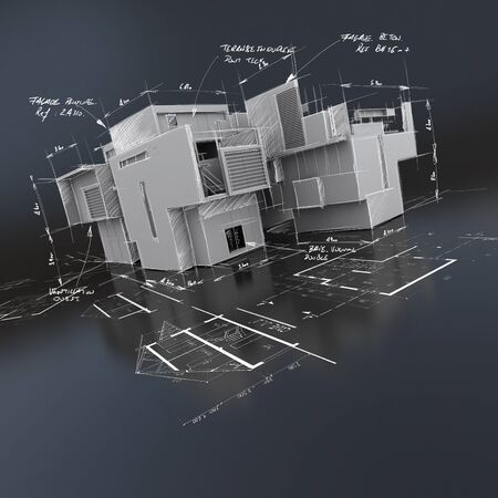 3D rendering of a roofless building on top of blueprints with handwritten indications Reklamní fotografie