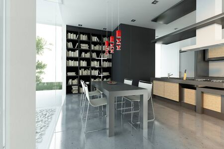Modern interior 3D rendering showing dining room and kitchen and an outdoor garden Imagens