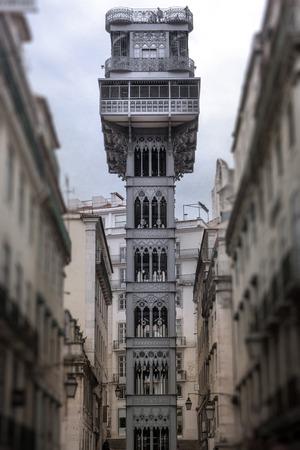 Eiffels Santa Justa Elevator in Lisbon Editorial