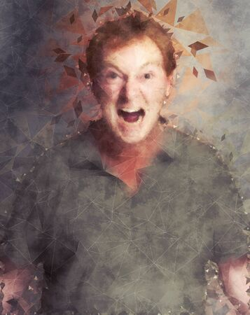 Portrait of a furious man yelling, illustration Banque d'images