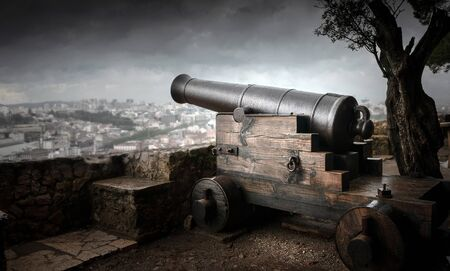 Old cannon defending the city of Lisbon