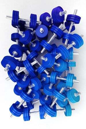 3D rendering of a group of blue dumbbells