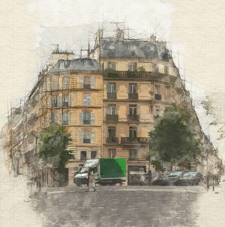 Sketch of a Parisian street on a regular day 写真素材