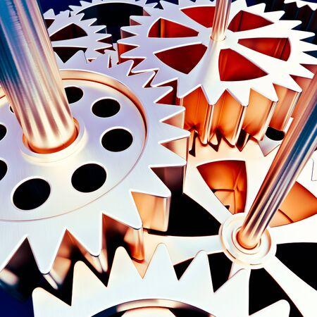 3D rendering of a mechanism of cogwheels in golden bronze shades ideal for backgrounds