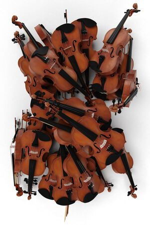 3D rendering of a pile of violins on a white background 写真素材