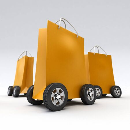 3D rendering of a group of orange shopping bags on wheels Stock Photo