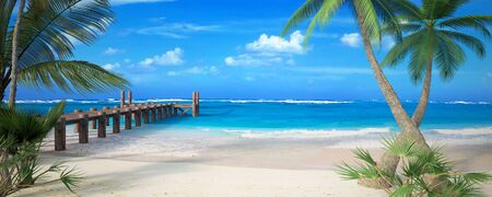 3D rendering of a tropical beach with pier and lots of copy space