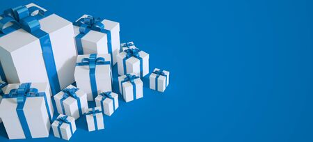 3D rendering of white and blue gift boxes with lots of copy space