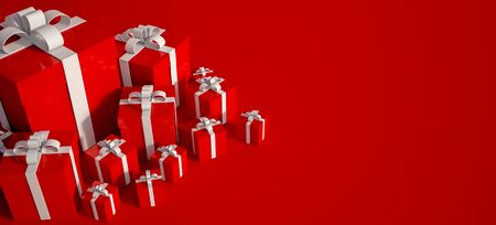 3D rendering of white and red gift boxes with lots of copy space Stockfoto