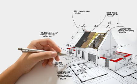 3D rendering of a House under construction on top of blueprints with a hand writing notes and measures Reklamní fotografie