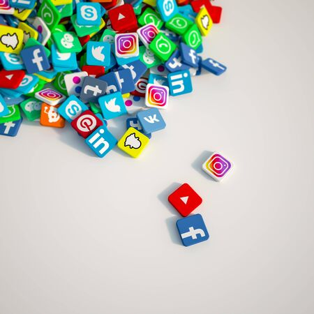 3D rendering of popular social media icons backdrop with lots of copy space Editorial